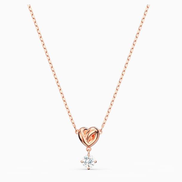 Přívěsek Lifelong Heart, bílý, pozlacený růžovým zlatem - Swarovski, 5516542