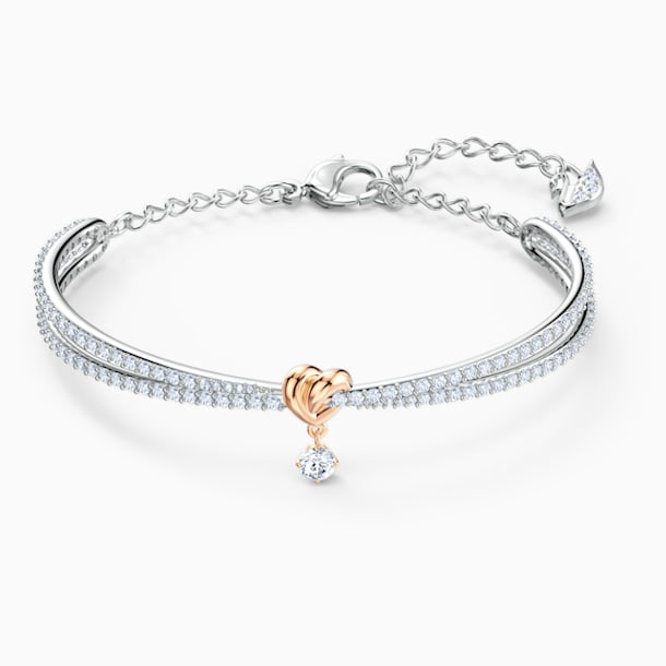 Bracciale rigido Lifelong Heart, bianco, mix di placcature - Swarovski, 5516544