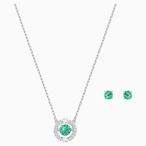 Swarovski Sparkling Dance Set, Green, Rhodium plated - Swarovski, 5516965