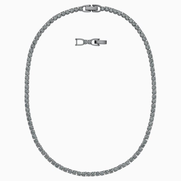 Tennis Deluxe Necklace, Black, Ruthenium plated - Swarovski, 5517113