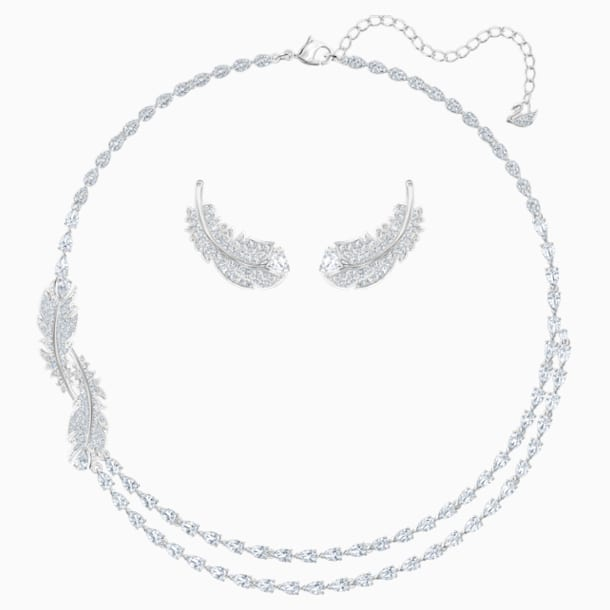 Nice-set, Wit, Rodium-verguld - Swarovski, 5517161