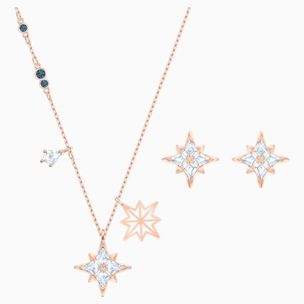 Swarovski Symbolic Star Set, White, Rose-gold tone plated - Swarovski, 5517178
