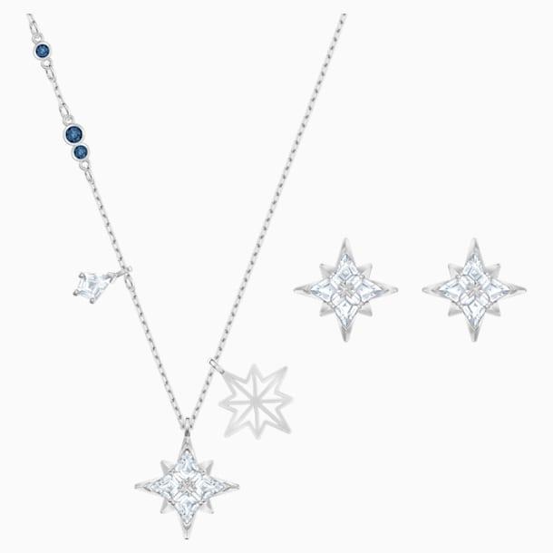 Sada se symbolem hvězdy Swarovski, Bílá, Rhodiem pokovená - Swarovski, 5517182