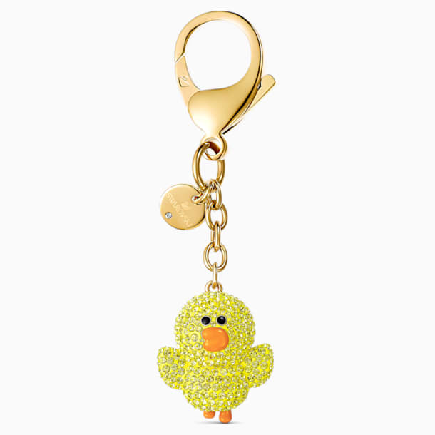 Line Friends 手袋墜飾, 黃色, 鍍金色色調 - Swarovski, 5517663