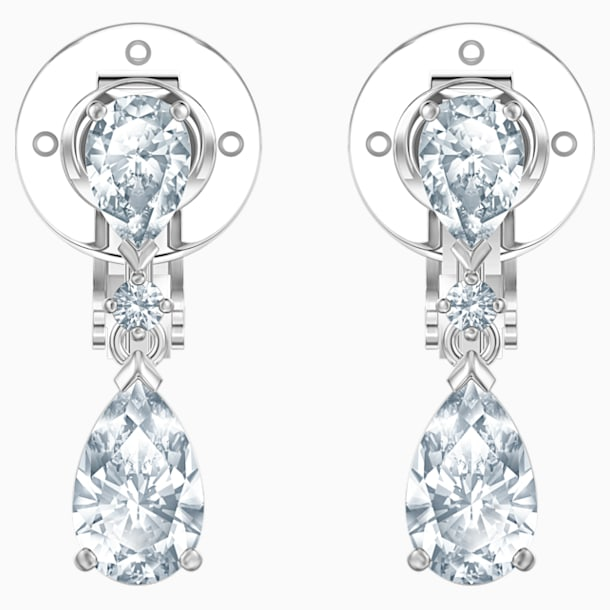 Palace Clip Earrings, White, Rhodium plated - Swarovski, 5517733