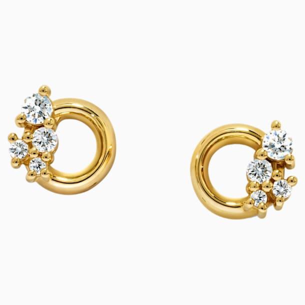 Glacial Earrings, Swarovski Created Diamonds, 18K Yellow Gold - Swarovski, 5517824