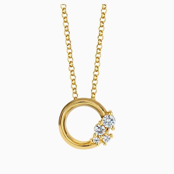 Glacial Small Necklace, Swarovski Created Diamonds, 18K Yellow Gold - Swarovski, 5517826