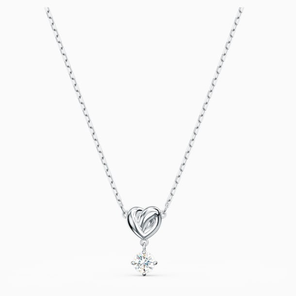 Lifelong Heart-hanger, Wit, Rodium-verguld - Swarovski, 5517928