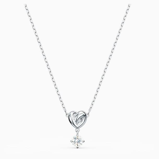 Lifelong Heart Pendant, White, Rhodium plated - Swarovski, 5517928