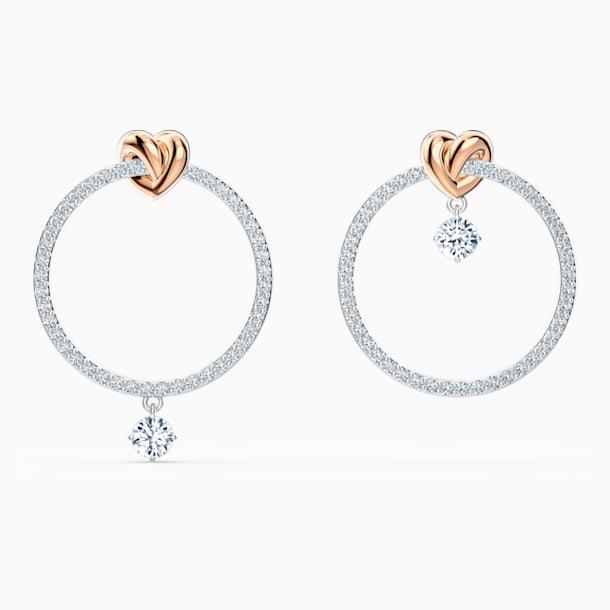 Lifelong Heart Hoop Pierced Earrings, White, Mixed metal finish - Swarovski, 5517933