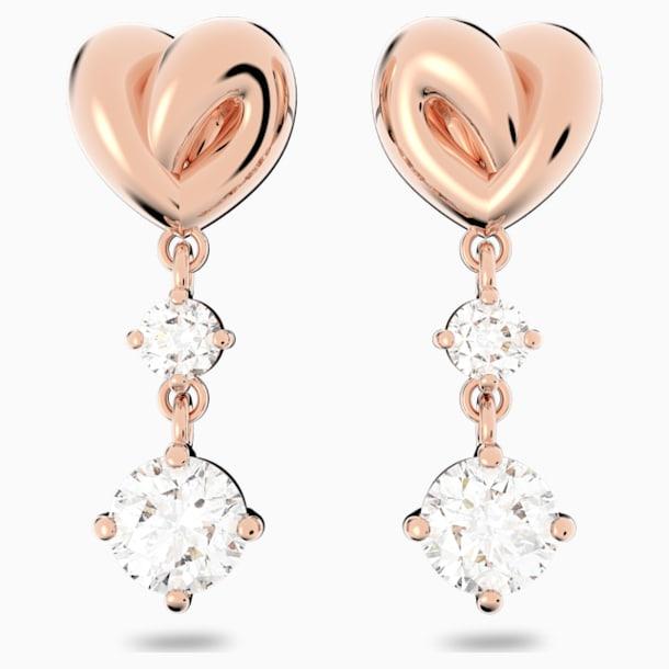 Lifelong Heart Pierced Earrings, White, Rose-gold tone plated - Swarovski, 5517942
