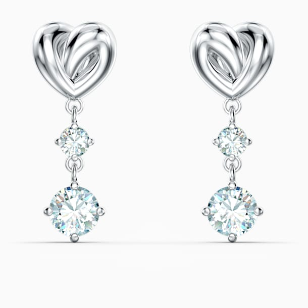Lifelong Heart Pierced Earrings, White, Rhodium plated - Swarovski, 5517943