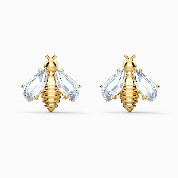 Eternal Flower Bee Pierced Earrings, White, Gold-tone plated - Swarovski, 5518143