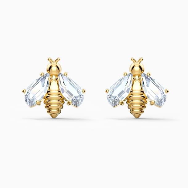 Eternal Flower Bee 穿孔耳環, 白色, 鍍金色色調 - Swarovski, 5518143