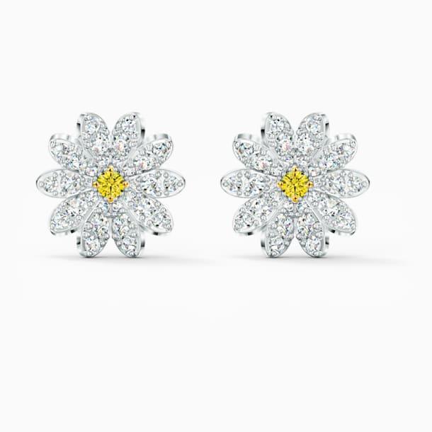 Eternal Flower Stud Pierced Earrings, Yellow, Mixed metal finish - Swarovski, 5518145
