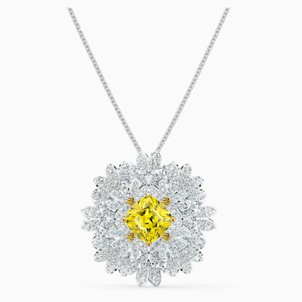 Eternal Flower Brooch, Yellow, Mixed metal finish - Swarovski, 5518147