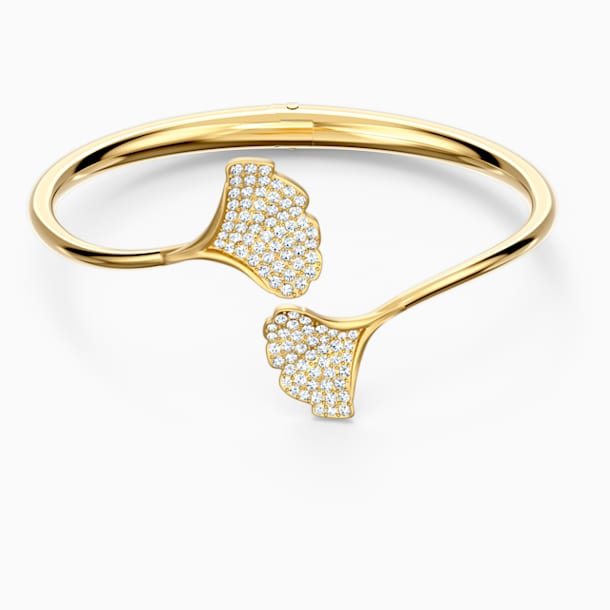 Stunning Gingko Bangle, White, Gold-tone plated - Swarovski, 5518170