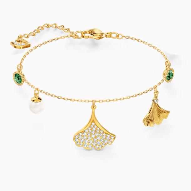 Bransoletka Stunning Ginko, zielona, powłoka w odcieniu złota - Swarovski, 5518173