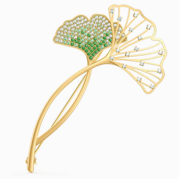 Broszka Stunning Gingko, zielona, powłoka w odcieniu złota - Swarovski, 5518174
