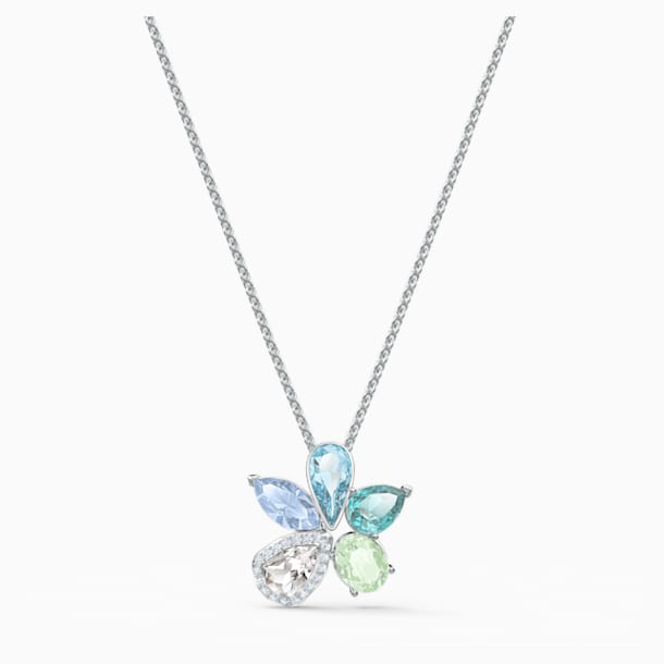 Sunny Necklace, Light multi-coloured, Rhodium plated - Swarovski, 5518414