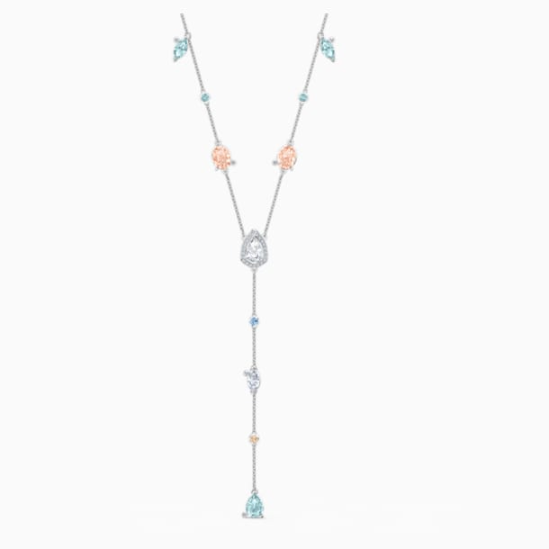 Sunny Y Necklace, Light multi-coloured, Rhodium plated - Swarovski, 5518415