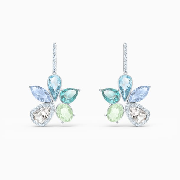 Sunny Pierced Earrings, Light multi-colored, Rhodium plated - Swarovski, 5518416
