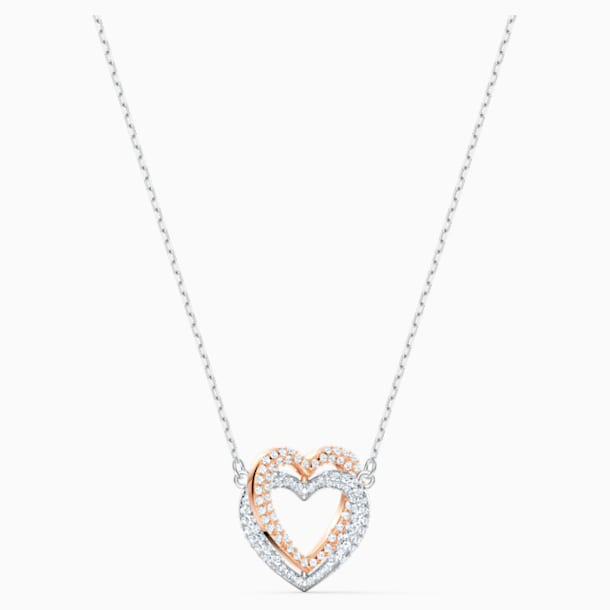 Collier Swarovski Infinity Double Heart, blanc, finition mix de métal - Swarovski, 5518868