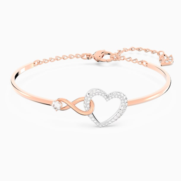 Swarovski Infinity Heart Bangle, White, Mixed metal finish - Swarovski, 5518869