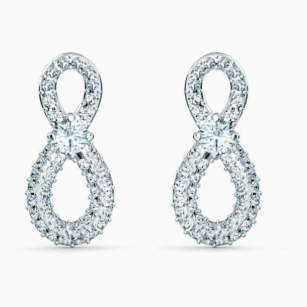 Swarovski Infinity Mini Pierced Earrings, White, Rhodium plated - Swarovski, 5518880