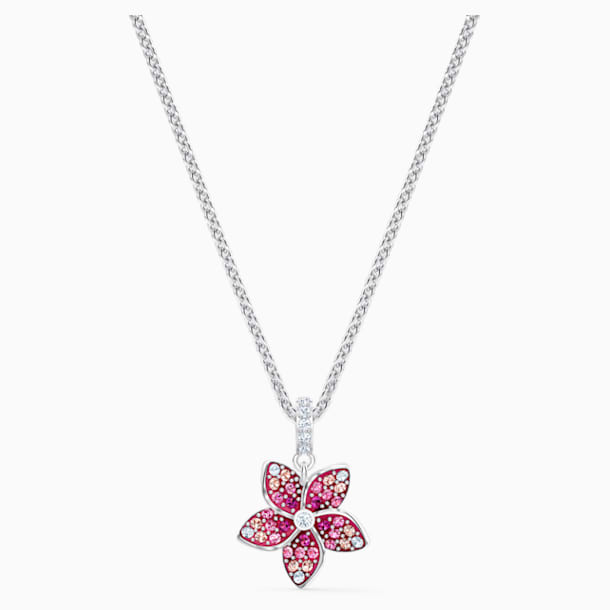 Tropical Flower Pendant, Pink, Rhodium plated - Swarovski, 5519248
