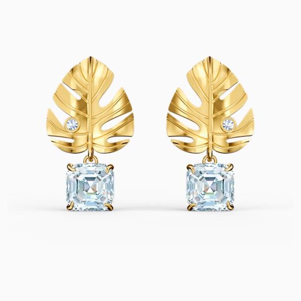 Tropical Leaf Pierced Earrings, White, Gold-tone plated - Swarovski, 5519253