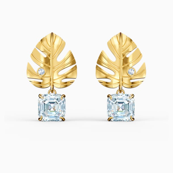 Tropical Leaf Pierced Earrings, White, Gold-tone plated - Swarovski, 5519253