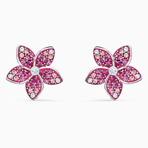Tropical Flower İğneli Küpeler, Pembe, Rodyum kaplama - Swarovski, 5519254
