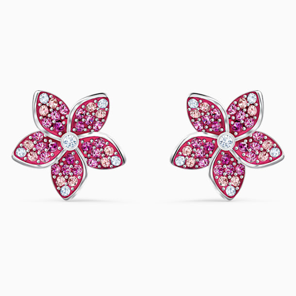 Tropical Flower Pierced Earrings, Pink, Rhodium plated - Swarovski, 5519254