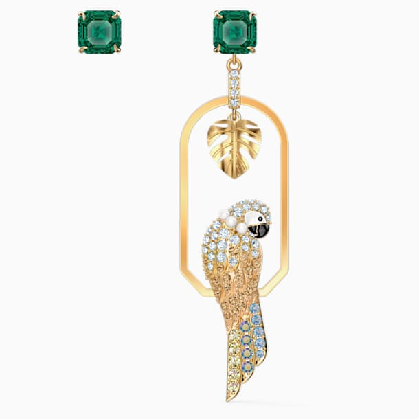 Boucles d'oreilles Tropical Parrot, multicolore clair, métal doré - Swarovski, 5519255