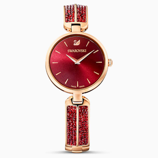 Dream Rock Watch, Metal Bracelet, Red, Rose-gold tone PVD - Swarovski, 5519312