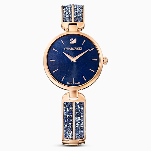 Dream Rock Watch, Metal Bracelet, Blue, Rose-gold tone PVD - Swarovski, 5519317