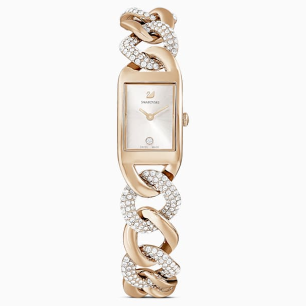 Cocktail Uhr, Metallarmband, goldfarben, champagne vergoldetes PVD-Finish - Swarovski, 5519321