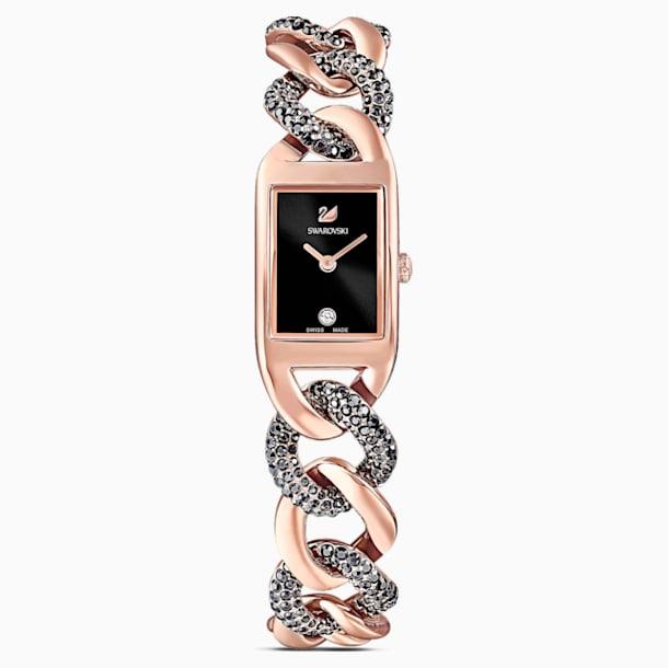 Cocktail Watch, Metal bracelet, Black, Rose-gold tone PVD - Swarovski, 5519324