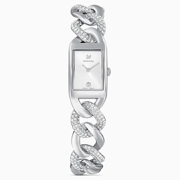 Cocktail Watch, Full Pavé, Metal bracelet, Silver tone, Stainless Steel - Swarovski, 5519330