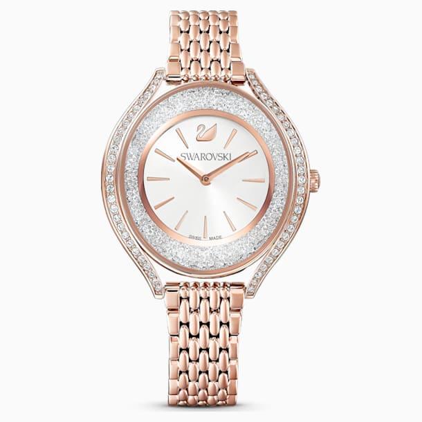 Crystalline Aura Watch, Metal Bracelet, Rose gold tone, Rose-gold tone PVD - Swarovski, 5519459