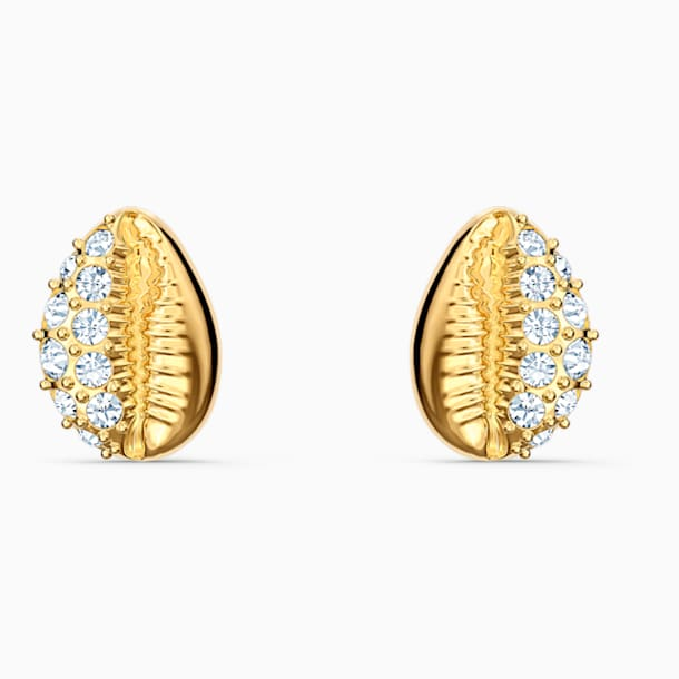 Shell Stud Pierced Earrings, White, Gold-tone plated - Swarovski, 5520471