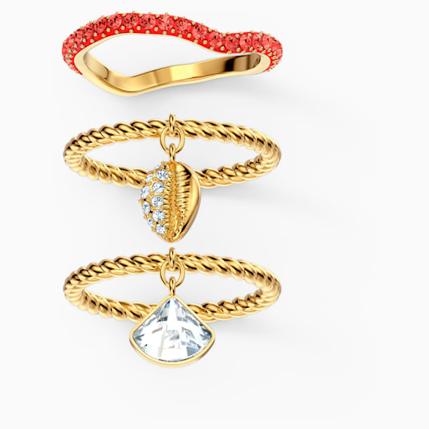 Shell Ring Set, Red, Gold-tone plated - Swarovski, 5520472