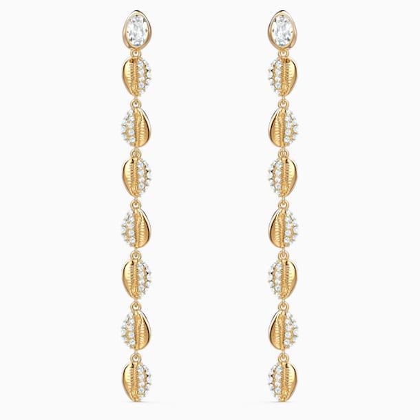 Shell Cowrie İğneli Küpeler, Beyaz, Altın rengi kaplama - Swarovski, 5520474