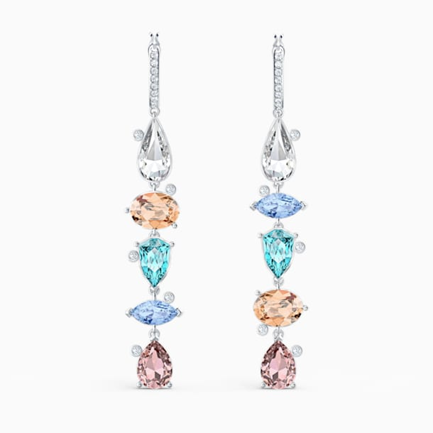 Sunny Hoop Pierced Earrings, Light multi-coloured, Rhodium plated - Swarovski, 5520490