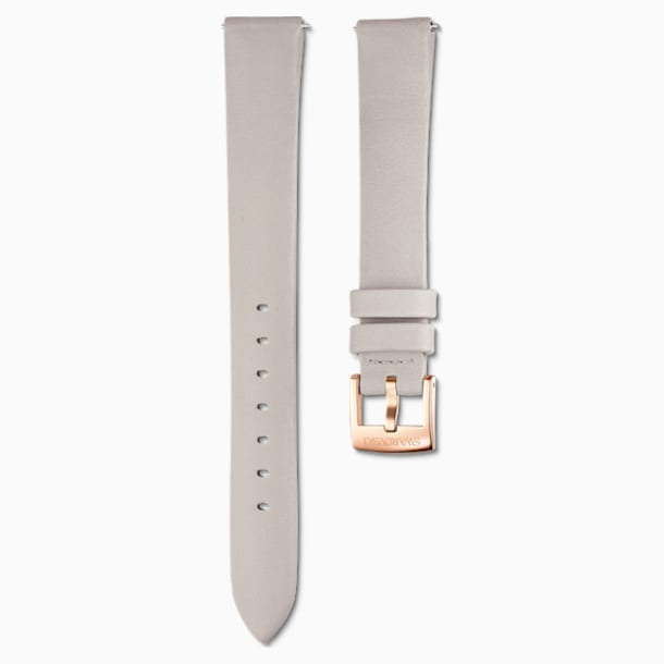 14mm Watch strap, Leather, Light gray, Rose-gold tone plated - Swarovski, 5520530