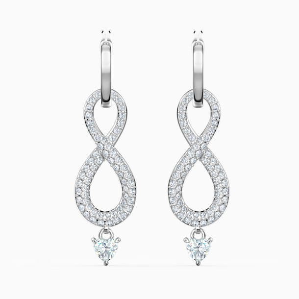 Swarovski Infinity 穿孔耳環, 白色, 鍍白金色 - Swarovski, 5520578