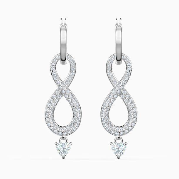 Swarovski Infinity İğneli Küpeler, Beyaz, Rodyum kaplama - Swarovski, 5520578
