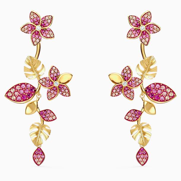 Tropical Flower Pierced Earrings, Pink, Gold-tone plated - Swarovski, 5520648