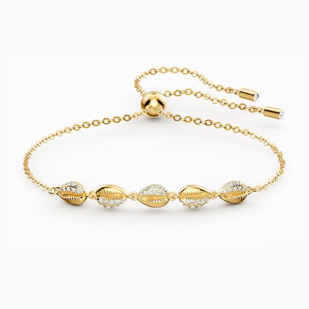 Shell Cowrie Bracelet, White, Gold-tone plated - Swarovski, 5520655